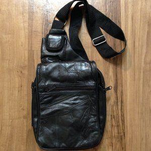 Black VINTAGE leather patchwork sling bag